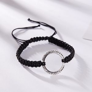 Silver Hollow Circle Braided Rope Lace-up Bangle